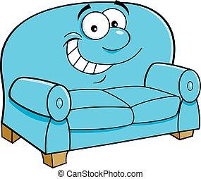 sourire, dessin animé, couch.
