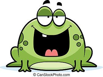 sourire, dessin animé, grenouille