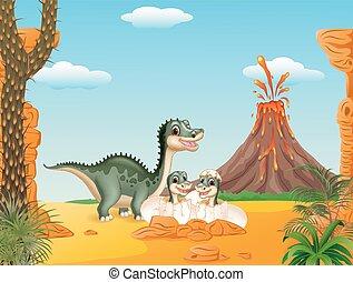 sourire, dessin animé, maman, tyrannosaurus