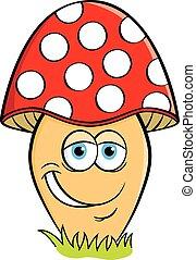 sourire, dessin animé, mushroom.