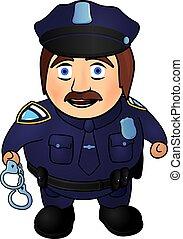 sourire, dessin animé, policier
