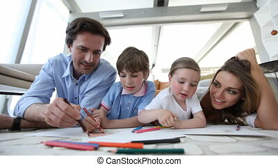 sourire, dessin, ensemble, famille