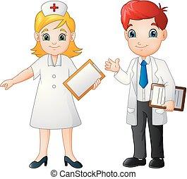 sourire, docteur, dessin animé, infirmière