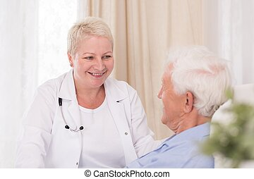 sourire, docteur, patient, elle, visiter