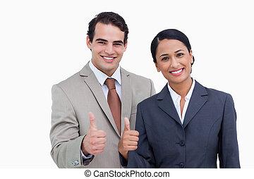 sourire, donner, approbation, salesteam