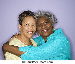 sourire, embracing., femmes