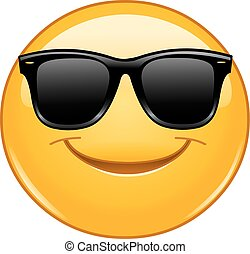 sourire, emoticon, à, lunettes soleil