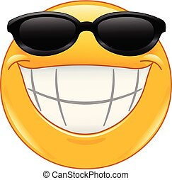 sourire, emoticon, lunettes soleil, grand