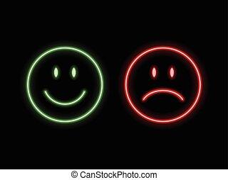 sourire, emoticons, néon