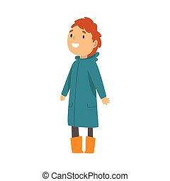 sourire, enfant, imperméable, dessin animé, illustration,...