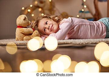 sourire, enfant joue, teddy