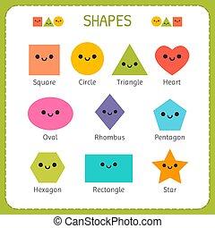 sourire, ensemble, comique, enfants, formes, education., caractères, fondamental, géométrique, dessin animé, figures.