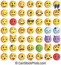 sourire, ensemble, emoticons., emoji., icônes