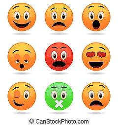 sourire, ensemble, emoticons., icons.