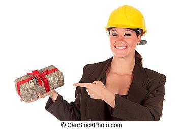 sourire, entrepreneur bâtiment, femme