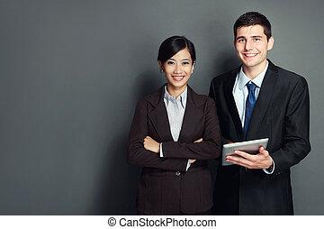 sourire, equipe affaires, à, pc tablette
