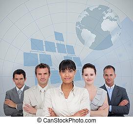sourire, equipe affaires, la terre