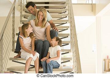 sourire, famille, escalier, séance