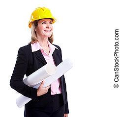 sourire, femme affaires, engineer.
