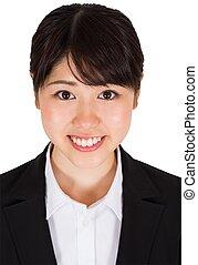 sourire, femme affaires