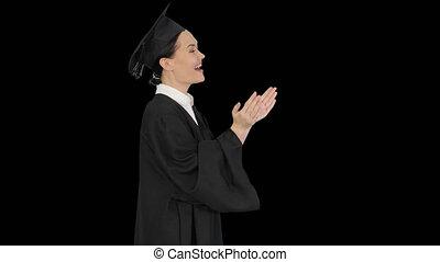 sourire, femme, applaudir, alpha, étudiant, remise de ...