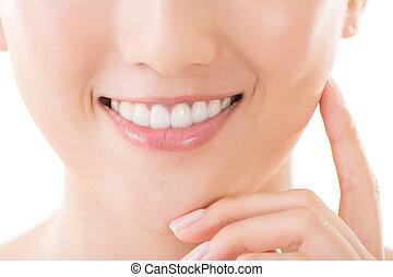 sourire, femme, asiatique