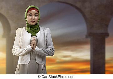 Sourire, femme, Asiatique, musulman
