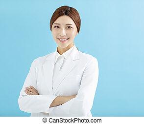 sourire, femme asiatique, pharmacien, docteur, isolé
