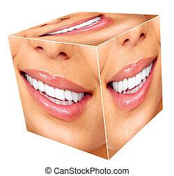 sourire, femme, cube, collage.