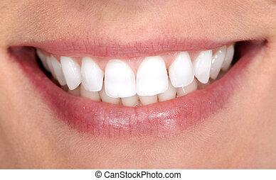 sourire, femme, dents