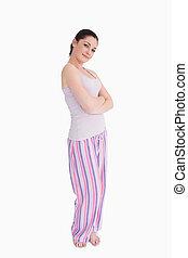 Sourire, femme, Pyjamas