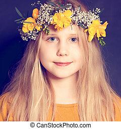 sourire, fleurs, girl, jaune, enfant