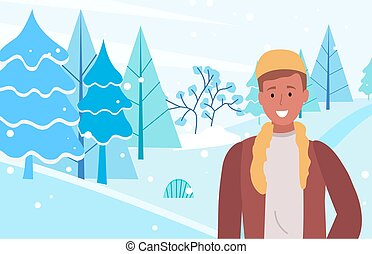 sourire, forêt, hiver, homme, stand, paysage