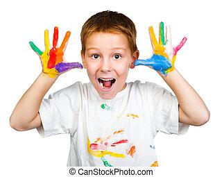 sourire, garçon, à, mains, dans, peinture