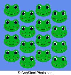 sourire, gosses, conception, vert, grenouilles