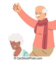 sourire, grands-parents, personnes agées, dessin animé, couple