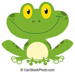 sourire, grenouille, vert
