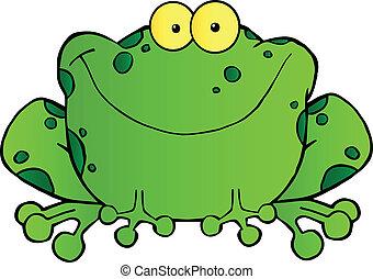 sourire, grenouille verte, tacheté