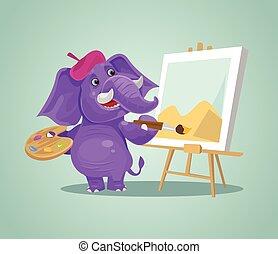 sourire heureux, éléphant, caractère, artiste, drawing., vecteur, plat, dessin animé, illustration