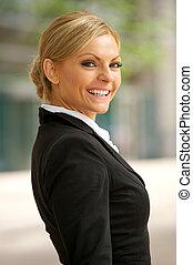 sourire heureux, affaires femme, dehors