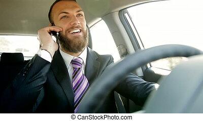 sourire heureux, business, conduite, homme