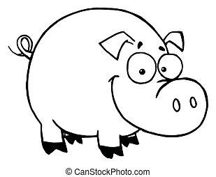 sourire heureux, contour, cochon