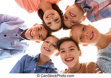 sourire heureux, enfants, faces