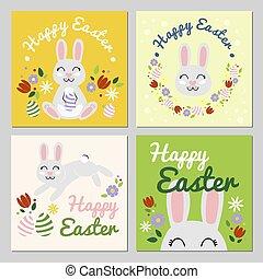 sourire heureux, ensemble, cartes, illustration, easter., vecteur, printemps, flowers., coloré, mood., 4, paques, plat, lapin, lapin, célébrer