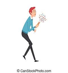 sourire heureux, exploser, illustration, vecteur, fête, jeune homme, popper, celebratory