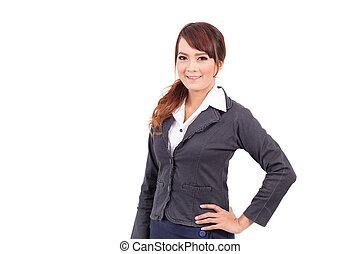 sourire heureux, femme affaires dans procès, isolé, blanc, fond