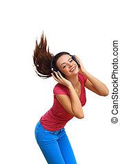 sourire heureux, girl, danse