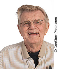 sourire heureux, homme âgé