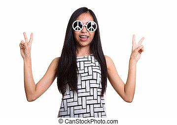 sourire heureux, paix, jeune fille, donner, signe, quoique, w, adolescent, asiatique