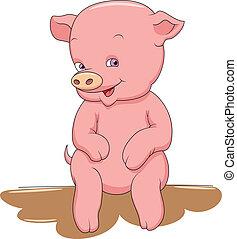 sourire heureux, peu, bébé, cochon